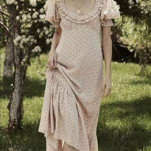 DÔEN OLIVE DRESS PEACH MARTHA'S GARDEN SILK $398 L